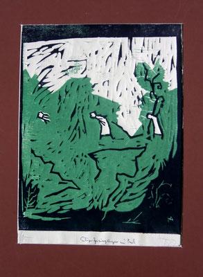 Park mit eiligem Spaziergänger. Farblinol-u.Holzschnitt (1987)