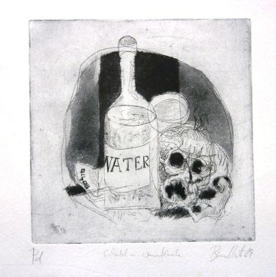 Schädel und Wasserflasche. Radierung und Aquatinta (1987)