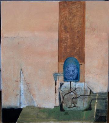 Löwenbrunnen (Eit., Öl, Monotypie, Leinwand) 2020