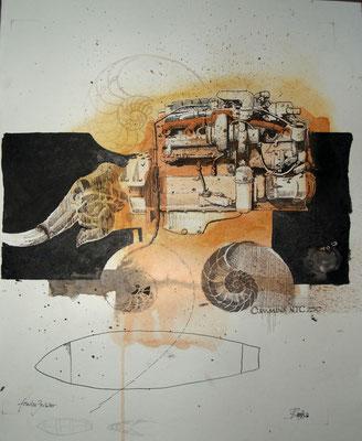 Fossiles Zeitalter (Kreide, Tusche, Papier) 2020