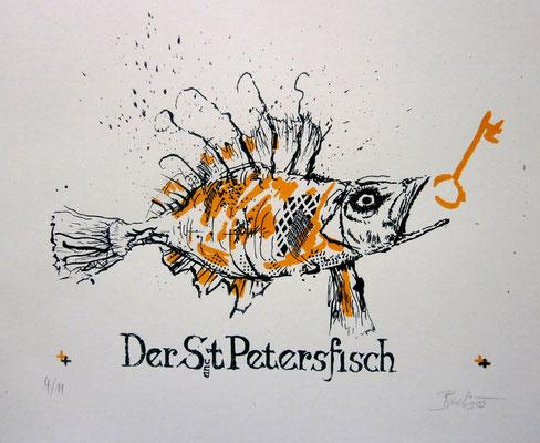 Sankt Petersfisch. Siebdruck in 2 Farben (2005)