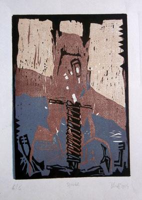 Spindel. Farblinolschnitt (2004)