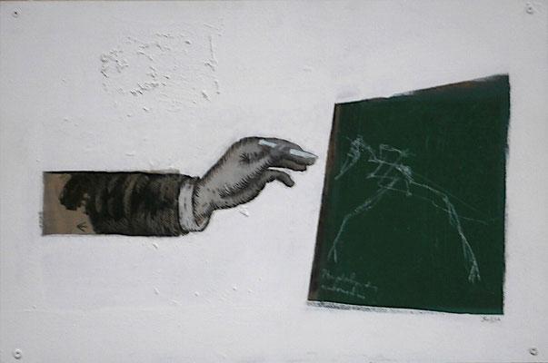 ein Fossil zeichnen (Eit., Öl, Sperrholz) 2020