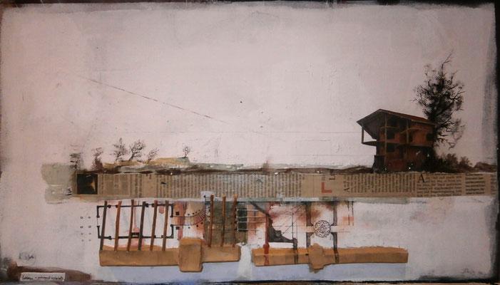 rohbau in postromantischer landschaft (Holz, Karton, Papier, Eitempera, Öl auf Spanplatte) 2018