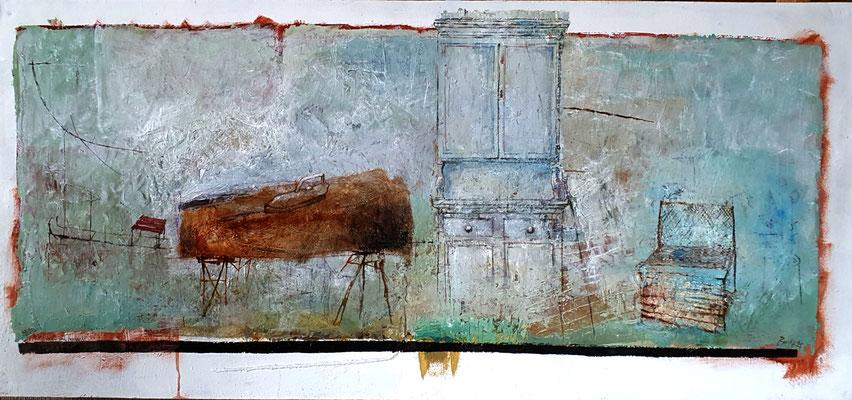 Bügelbrett und Kredenz (Eitempera, Öl, Faserplatte) 35x80