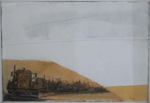 Karawane (Eitempera, Öl, Markisenstoff) 37x60