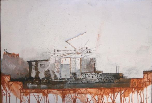Electro-Locomotive verschrottet (Eitempera, Öl, Jute, Holz, Faserplatte) 2018  - - - verkauft