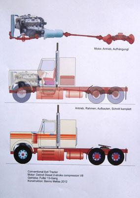 Conventional, Detroit Diesel V8. Vektorgrafik