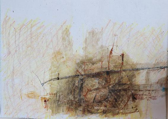 Landschaft mit Reißverschluss (Wachs, Aquarell, Tusche/Papier) 40x50