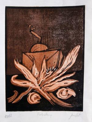 Kaffeemühle mit Türkenflitschen. Farblinolschnitt (2005)