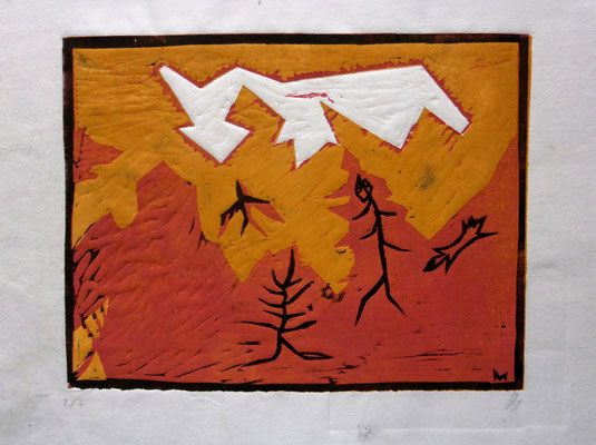 Tiere unterWolke. Farblinol-u.Holzschnitt (1987)