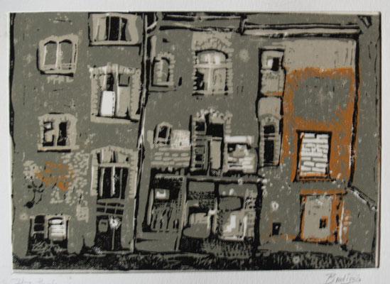 hausfassade (Farblinoldruck 6/6) 20x15