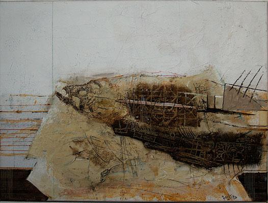 Makrele (Eitempera, Öl, Garn, Holz, Leinwand) 28x40