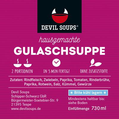 Devil Soups Etikett Gulaschsuppe