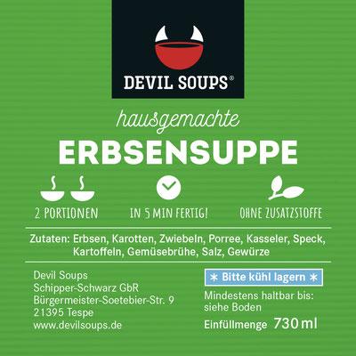 Devil Soups Etikett Erbsensuppe