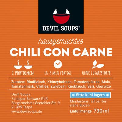 Devil Soups Etikett Chili Con Carne