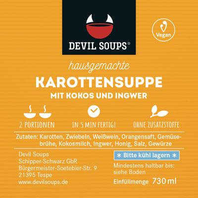 Devil Soups Etikett vegane Karottensuppe