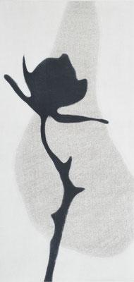 Eliana Bürgin-Lavagetti | Schattenriss 2016. Mezzotinto, Roulette. Druck von zwei Kupferplatten auf Zerkall Papier, Blattgrösse 34 x 55 cm, Kupferplatte 20 x 40 cm. Drei Exemplare.