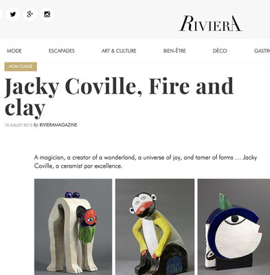 Jacky Coville , Fire and clay, Riviera magazine