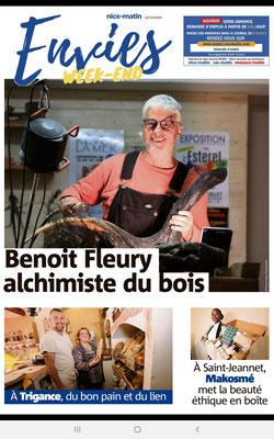 Benoît Fleury, sculptures en bronze, à partir de bois calcinés. Article de presse 2020, artiste de la Galerie Gabel.
