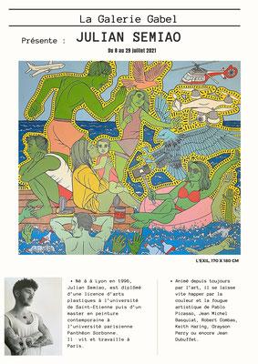 Julian Semiao, exposition, solo show, 2021, Côte d'Azur, Biot. Galerie Gabel