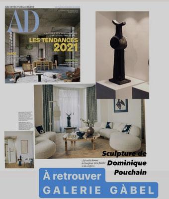 AD , Dominique Pouchain, céramiste dans magazine de décoration