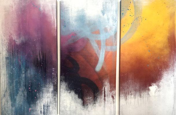 """AKIROVITCH  120X55cmX3, triptich  (47,2X21,6"""") mixed media on canvas - GALERIE GABEL -BIOT- COTE D'AZUR -ST PAUL DE VENCE -CANNES -MONACO"""