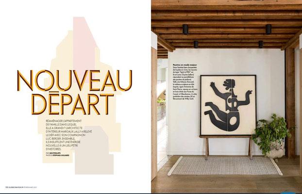 ELLE DECORATION février 2021, bas relief EVA, Antonine de Saint Pierre