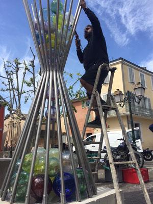 Christophe Saba &Fortuné Evangelisti -Inox et verre-100X100X270cm-renseignements et prix 0610814790- sculptures monumentales