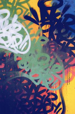 """AKIROVTCH  """"Wall story"""" 150X100cm  technique mixte sur toile - GALERIE GABEL -BIOT- COTE D'AZUR -ST PAUL DE VENCE -CANNES -MONACO"""