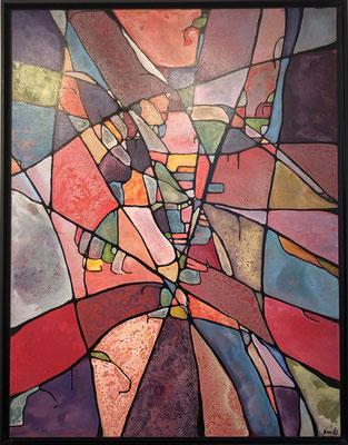 """Anna Nansky - Acrylique sur toile """"Le fêtard"""" 88X116cm, encadrée caisse américaine noire. Galerie Gabel Biot-"""