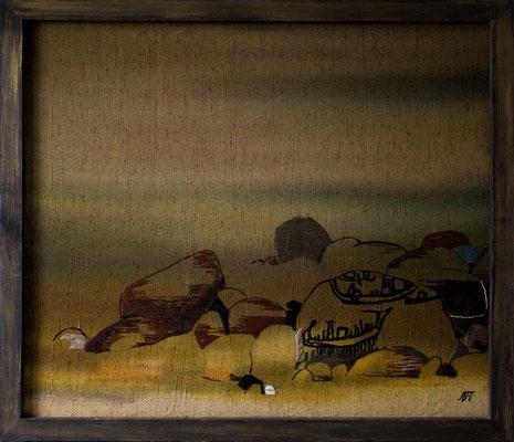 «На берегу» свободная роспись, вышивка; брезент, шерсть; 114х100 см.  004 г.