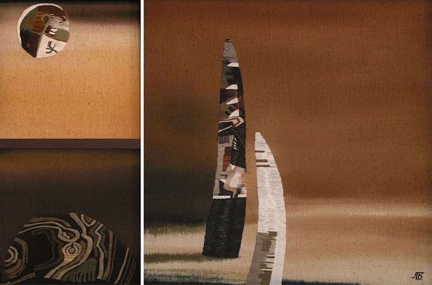 """Другие миры"", диптих, брезент, свободная роспись, вышивка, 2004 г., 96х135. ""Other Worlds"", diptych, canvas, free painting, embroidery."