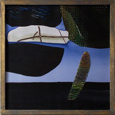 Из серии  «Коллекция минералов»  свободная роспись, вышивка; вискоза, хлопок 50х50 см. 2002 г.