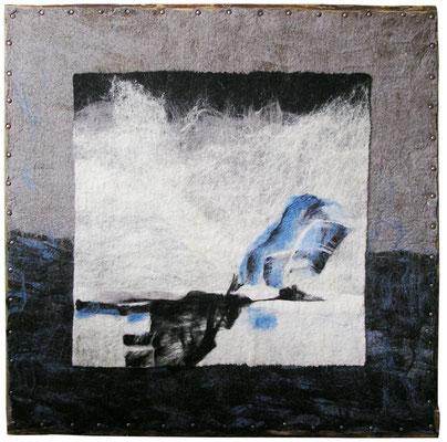 """Из серии """"Северный пейзаж"""", шерсть, мокрое валяние, 2010, 90х90 см."""
