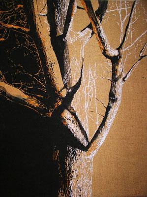"""Дерево"", брезент, свободная роспись, вышивка, 2008 г., 110х75 см. ""Tree"", canvas, free painting, embroidery."