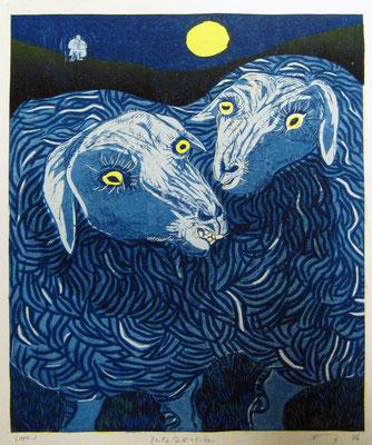 2010年 木版画 「そんな気がした夜」
