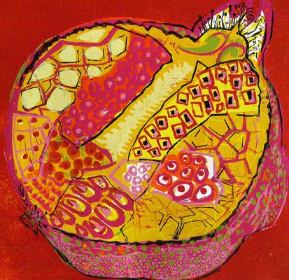2008年 木版画 「ザクロ」