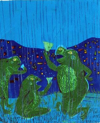 2011年 木版画 「雨酒」