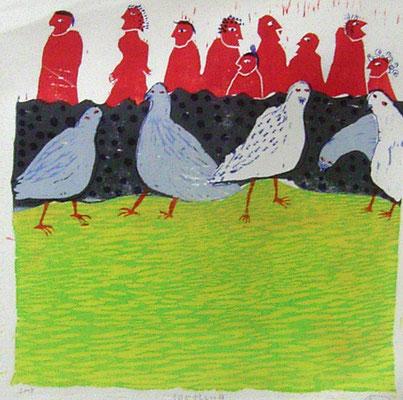 2008年 木版画 「何か忙しい日」