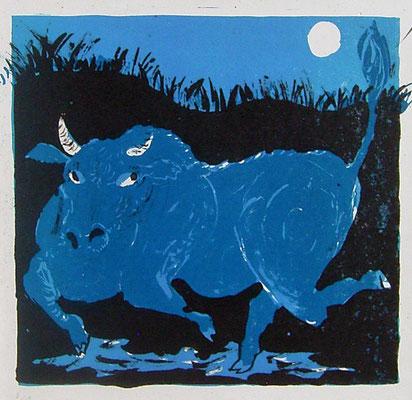 2007年 リトグラフ 「夜牛」