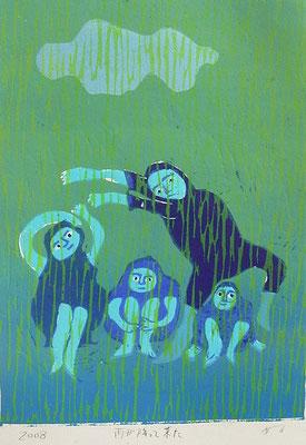 2008年 木版画 「雨が降ってきた」