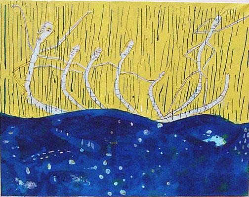 2007年 リトグラフ 「水たまりであそぶ」