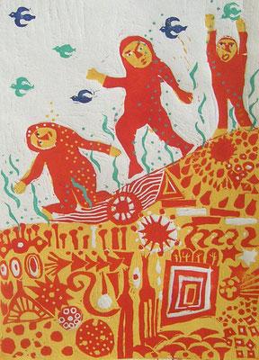 2008年 木版画 「春が来たら」