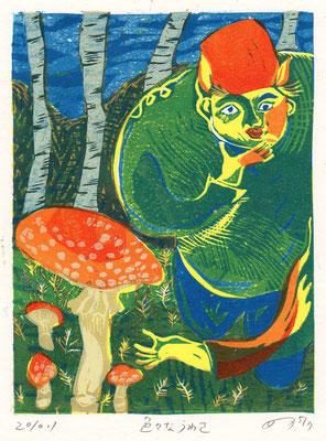 2010年 木版画 「色々なうわさ」