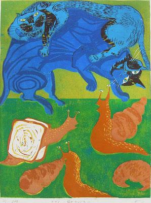 2009年 木版画 「ジロリ〜猫がナメクジを〜」