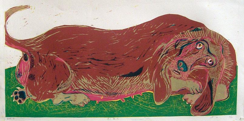 2010年 木版画 「太く長く」