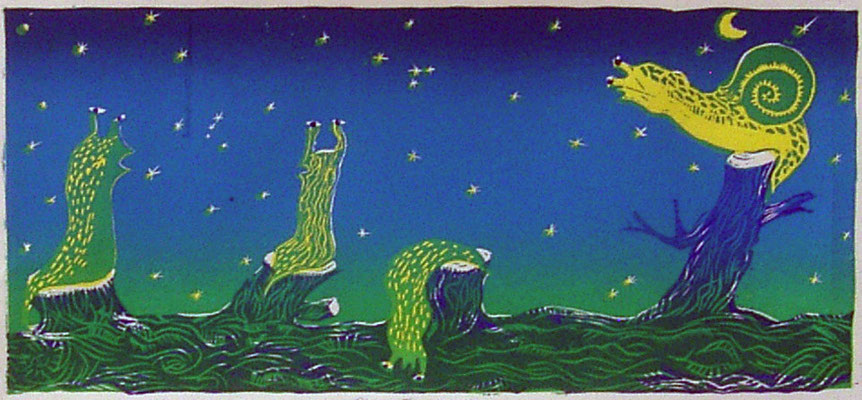 2008年 木版画 「明日は晴れる」