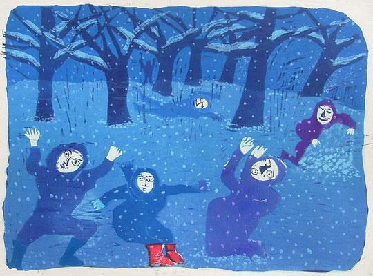 2008年 木版画 「雪が降ったら」