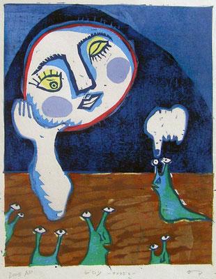 2008年 木版画 「ジロリ〜なめくじを〜」